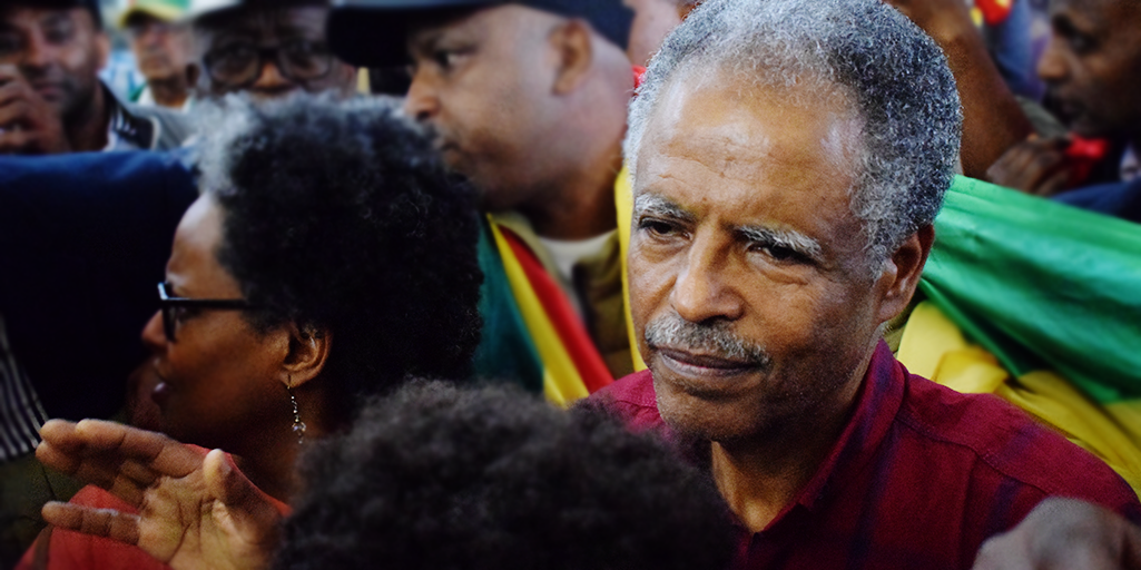 Image of Andy Tsege arriving back in the UK after four years on death row in Ethiopia