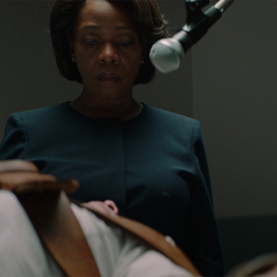 Still from the film Clemency, when the character Bernadine Williams oversees an execution.