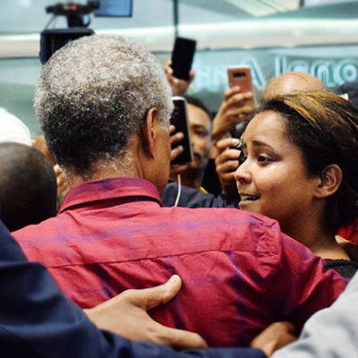 Twitter image of Andy Tsege arriving at Heathrow Airport