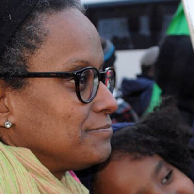 Twitter image of Yemi Hailemariam at a protest for her husband Andy Tsege