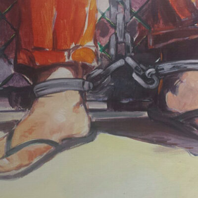 Twitter image of Sabry al-Qurashi's artwork showing feet shackled in Guantanamo