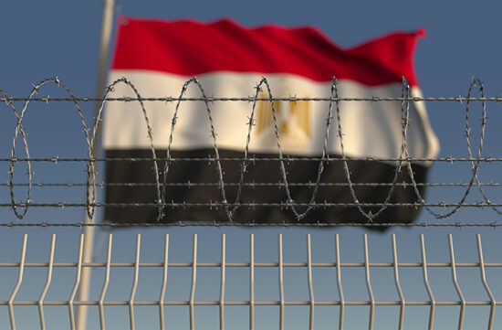 Twitter image of barbed wire with Egyptian flag in background from Shutterstock