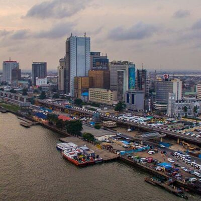 Aerial view of Lagos Island with Lagos Marina, stock image from Shutterstock
