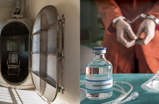 Twitter image of stock photos from Shutterstock of lethal injection and lethal gas chamber